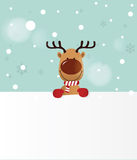 Reindeer holding Board Royalty Free Stock Photos