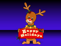 Reindeer Holding Holiday Sign Royalty Free Stock Photography