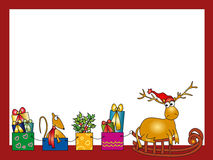 Reindeer And Holiday Presents. Reindeer wearing a red hat on a sleigh pulling wrapped presents and a mouse Stock Images