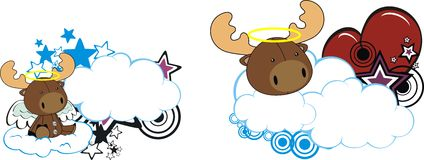 Reindeer Horse baby cute angel cartoon cloud set Stock Images