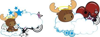 Reindeer Horse baby cute angel cartoon cloud set. Reindeer baby cute angel cartoon cloud in vector format royalty free illustration