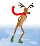 Reindeer ice skating Royalty Free Stock Photos