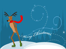 Reindeer ice skating Royalty Free Stock Photo