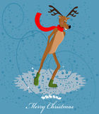 Reindeer ice skating card Stock Photos