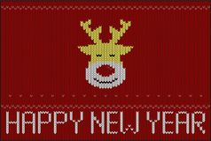 Reindeer on knitting pattern, Happy new year, vector illustratio Stock Images
