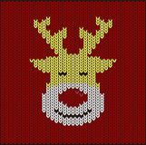 Reindeer on knitting pattern, vector illustration Royalty Free Stock Images