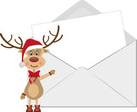 Reindeer and letter envelope  Royalty Free Stock Photography