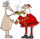 Reindeer lighting Santa's pot pipe Stock Images