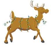 Reindeer lights. Reindeer cartoon with Christmas lights vector illustration