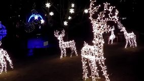 Reindeer lights holiday decoration stock video footage
