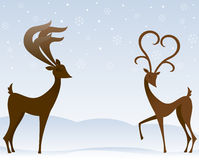 Reindeer In Love. Two stylized reindeer flirt in the snow - the female's antlers resemble a large heart Vector Illustration