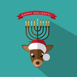 Reindeer with Menorah antlers flat design Royalty Free Stock Photo