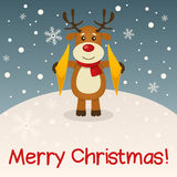 Reindeer Merry Christmas Card Stock Images