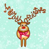 Reindeer with Merry Christmas Horn Royalty Free Stock Photo