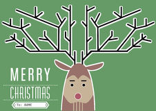 Reindeer Merry Christmas. Rudolph the red nose reindeer's christmas card Royalty Free Stock Image