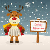 Reindeer with Merry Christmas Sign. A cute reindeer playing the accordion in a snowy scene background with a Merry Christmas wooden sign. Eps file available Royalty Free Stock Photos