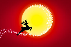 Reindeer on the moon. Reindeer on the moon , Christmas background Stock Photos