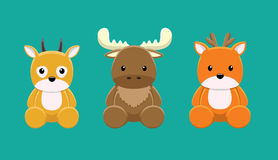Reindeer Moose Gazelle Doll Set Cartoon Vector Illustration Royalty Free Stock Photos