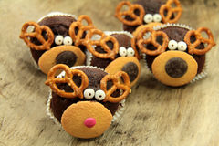 Reindeer muffins for chrismas Stock Images