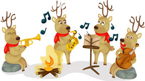 Reindeer musical. Illustration of isolated reindeer musical on white Stock Photos
