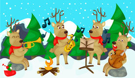 Reindeer musical. Illustration of landscape reindeer musical Royalty Free Stock Image
