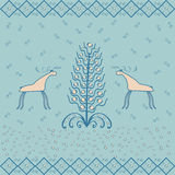 Reindeer near Christmas tree ornament ethnic Royalty Free Stock Photos