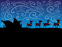 Reindeer. night sky. Santa Claus with reindeer. Feast of Christmas. New Year holiday Stock Photos