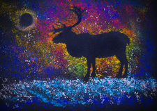 Reindeer and Northern Lights Royalty Free Stock Image