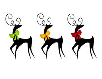 Free Reindeer Or Deer Wearing Christmas Bows Stock Photos - 3706463