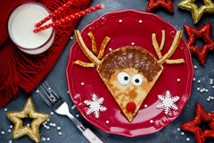 Reindeer pancakes for Christmas breakfast Stock Photo