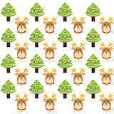 Reindeer and pine tree cartoon of Chistmas design Stock Photography