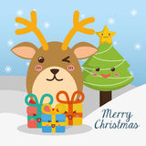 Reindeer and pine tree cartoon of Chistmas design Stock Image