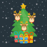 Reindeer and pine tree cartoon of Chistmas design Royalty Free Stock Photo