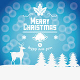 Reindeer and pine tree of Christmas design Stock Photography