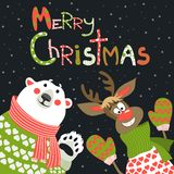 Reindeer and polar bear celebrating Christmas. At vector greeting card Stock Photo
