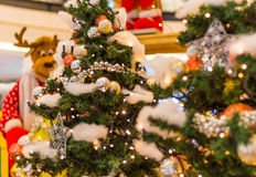 Reindeer preparing Christmas tree lights and presents Royalty Free Stock Photography