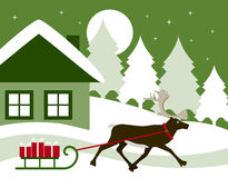 Reindeer pulling sledge Royalty Free Stock Photography
