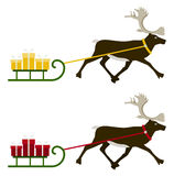 Reindeer pulling sledge Stock Photo