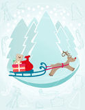 Reindeer pulling a sleigh with Christmas gifts Royalty Free Stock Photos