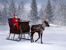 Reindeer pulling a sleigh with Santa Claus. A reindeer pulling a sleigh with Santa Claus in it. The background is a beautiful snowy winter forest Stock Photo