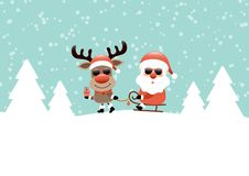Reindeer Pulling Sleigh With Santa Sunglasses Snow And Forest Turquoise stock illustration