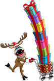 Reindeer Pushing Cart Stack Gifts Isolated royalty free stock photos