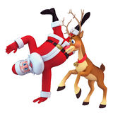 Reindeer pushing santa claus Royalty Free Stock Image