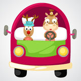 Reindeer in red car vector Royalty Free Stock Photography