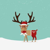 Reindeer red nose cartoon for Christmas ornament. Stock Photos