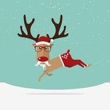 Reindeer red nose cartoon for Christmas ornament. Stock Images