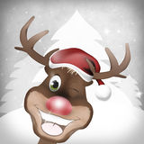 Reindeer. Red Nose Happy Christmas Royalty Free Stock Photo