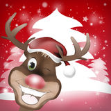 Reindeer. Red Nose Happy Christmas creative fresh background design Stock Photos