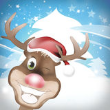 Reindeer. Red Nose Happy Christmas creative fresh background design Stock Images