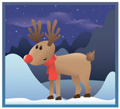Reindeer red nose Royalty Free Stock Images
